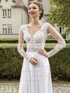 A-line V-neck Chiffon Sweep Train Appliques Lace Prom Dresses #LDB020102865