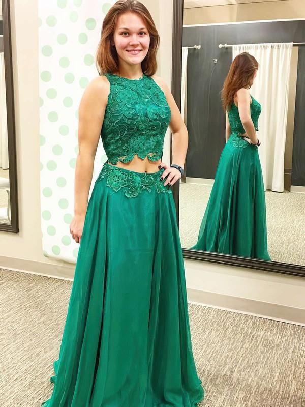 A-line Scoop Neck Chiffon Floor-length Appliques Lace Prom Dresses #LDB020102874
