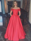 A-line Off-the-shoulder Satin Floor-length Sashes / Ribbons Prom Dresses #LDB020102879