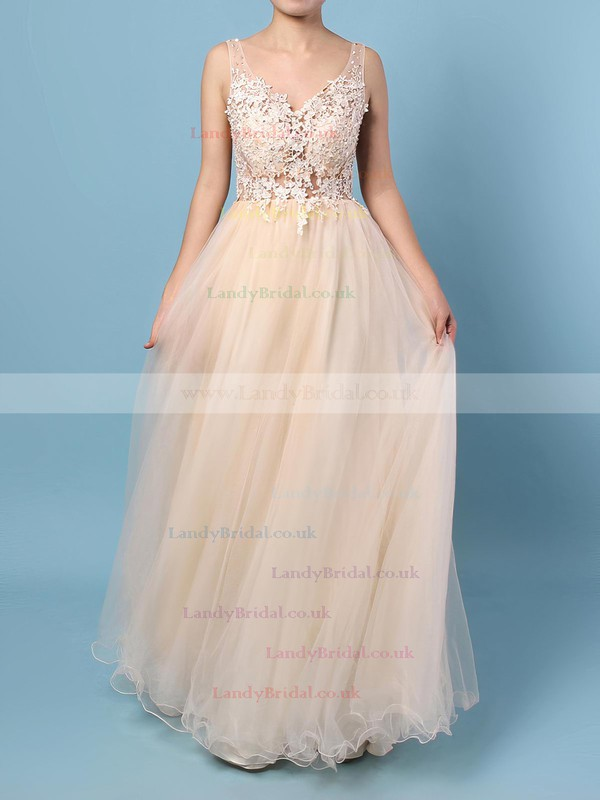 Princess V-neck Tulle Floor-length Appliques Lace Prom Dresses #LDB020102889