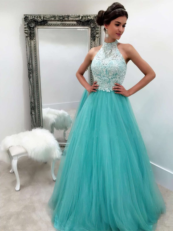Princess High Neck Tulle Floor-length Appliques Lace Prom Dresses #LDB020102893
