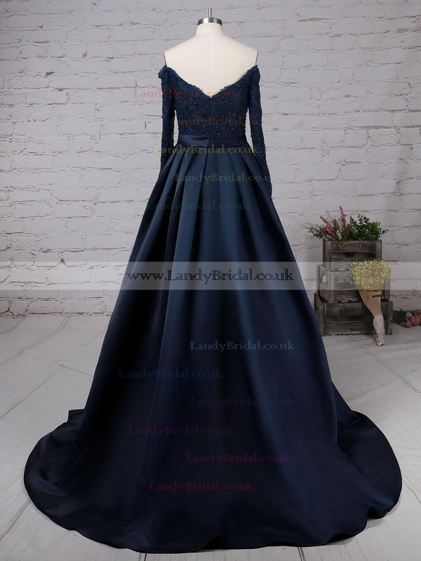 Ball Gown Off-the-shoulder Satin Sweep Train Beading Prom Dresses #LDB020102895