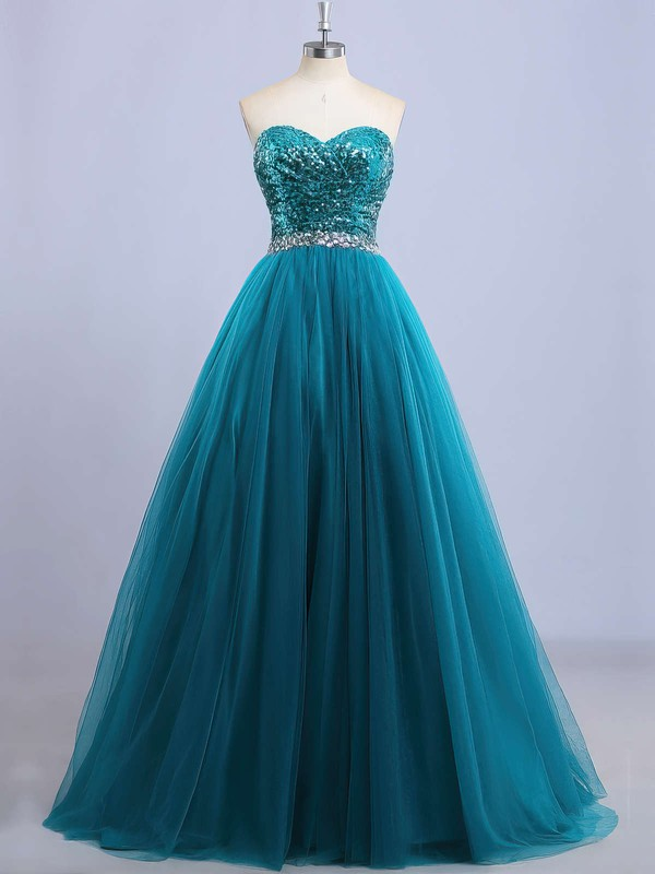 Princess Sweetheart Tulle Sequined Floor-length Beading Prom Dresses #LDB020102908