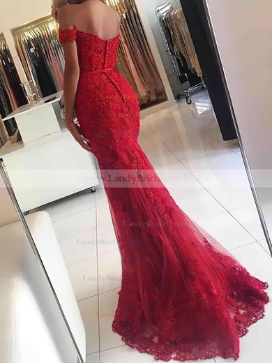 Trumpet/Mermaid Off-the-shoulder Tulle Floor-length Appliques Lace Prom Dresses #LDB020102938