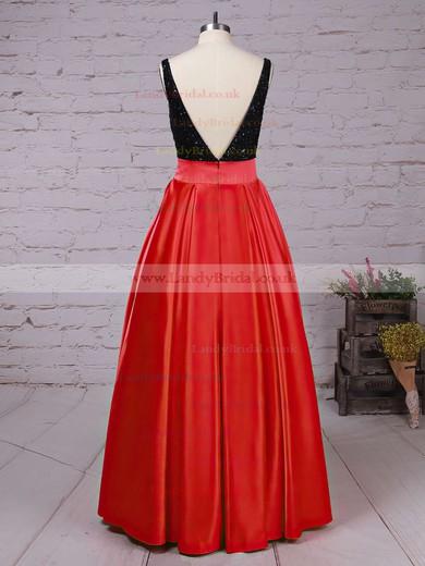 Princess Scoop Neck Satin Sweep Train Beading Prom Dresses #LDB020102999
