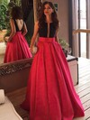 Princess Scoop Neck Satin Sweep Train Beading Prom Dresses #LDB020102999