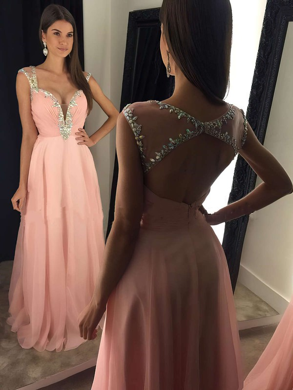 A-line V-neck Chiffon Floor-length Ruffles Prom Dresses #LDB020103021