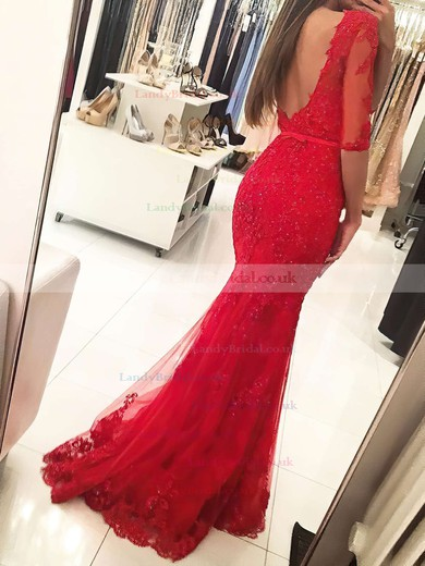 Trumpet/Mermaid Scoop Neck Tulle Floor-length Appliques Lace Prom Dresses #LDB020103022