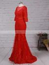 Trumpet/Mermaid Scoop Neck Tulle Floor-length Appliques Lace Prom Dresses #LDB020103022