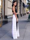 A-line Square Neckline Chiffon Jersey Floor-length Ruffles Prom Dresses #LDB020103026