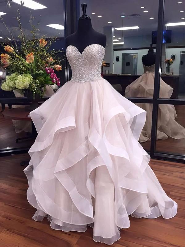 Ball Gown Sweetheart Organza Floor-length Beading Prom Dresses #LDB020103055