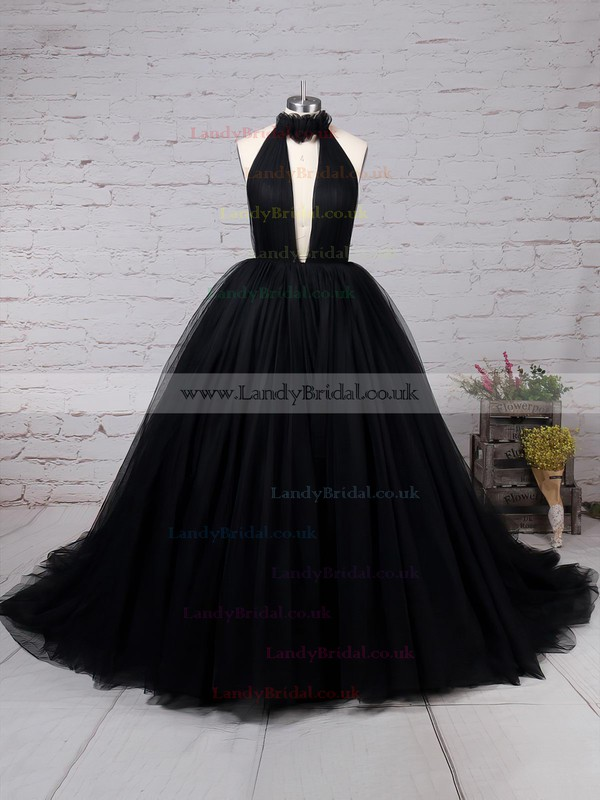 Ball Gown High Neck Tulle Sweep Train Ruffles Prom Dresses #LDB020103088