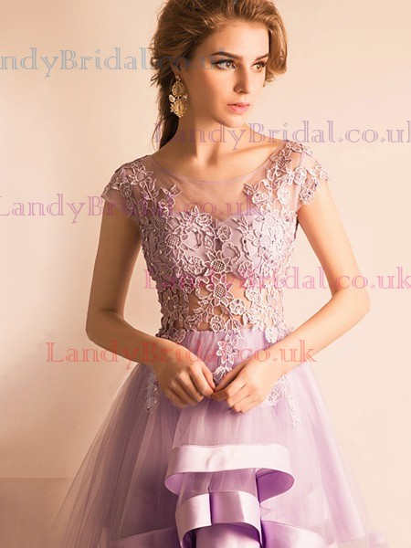 A-line Scoop Neck Tulle Asymmetrical Appliques Lace Prom Dresses #LDB020103141