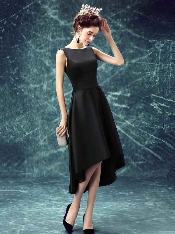 A-line Scoop Neck Satin Asymmetrical Prom Dresses #LDB020103168