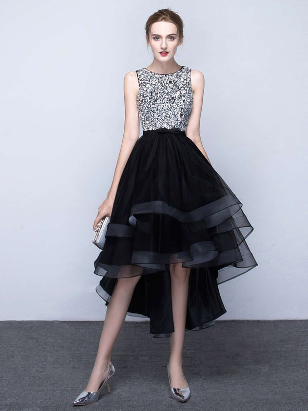 Princess Scoop Neck Organza Asymmetrical Beading Prom Dresses #LDB020103179