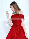 A-line Off-the-shoulder Satin Asymmetrical Beading Prom Dresses #LDB020103189