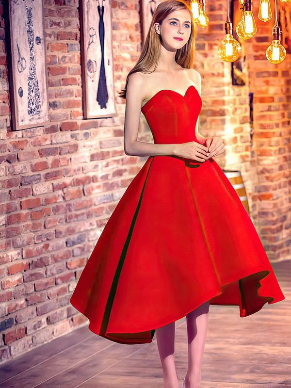 Princess Sweetheart Satin Asymmetrical Prom Dresses #LDB020103199
