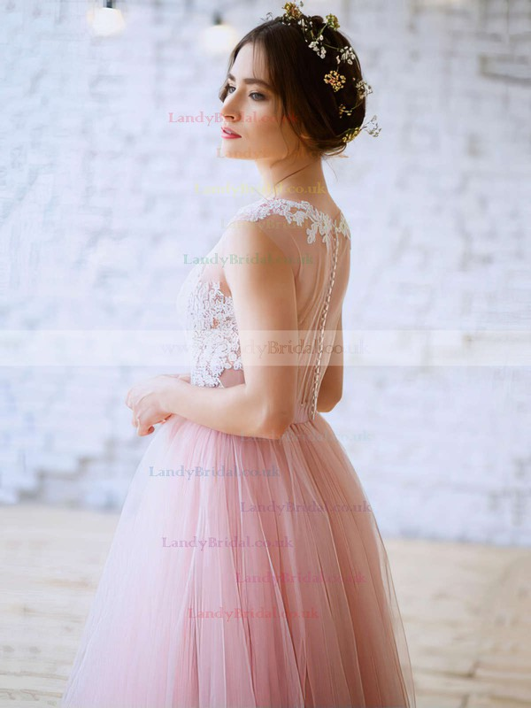 Princess Scoop Neck Tulle Floor-length Appliques Lace Prom Dresses #LDB020103231