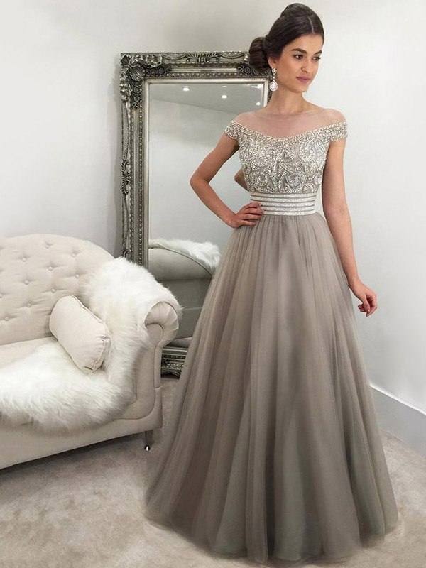 Princess Scoop Neck Tulle Floor-length Beading Prom Dresses #LDB020103236