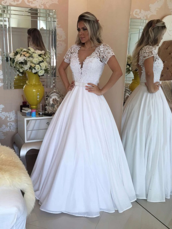 Princess V-neck Chiffon Floor-length Beading Prom Dresses #LDB020103257