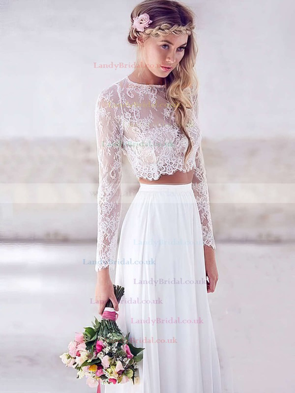 A-line Scoop Neck Lace Chiffon Floor-length Prom Dresses #LDB020103264