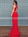 Trumpet/Mermaid Scoop Neck Jersey Sweep Train Prom Dresses #LDB020103300