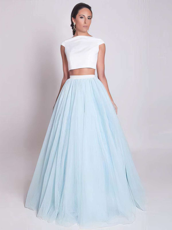 Ball Gown Scoop Neck Satin Tulle Floor-length Prom Dresses #LDB020103301