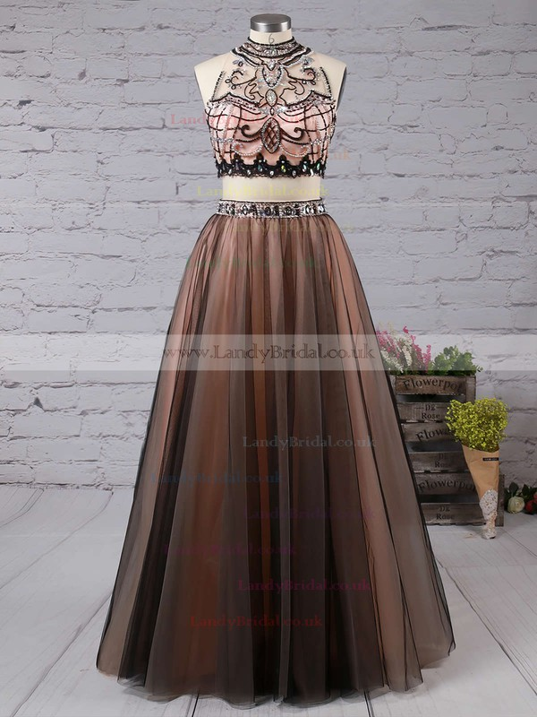 Princess High Neck Tulle Floor-length Beading Prom Dresses #LDB020103331
