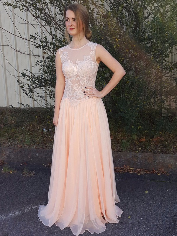 A-line Scoop Neck Chiffon Floor-length Sequins Prom Dresses #LDB020103461