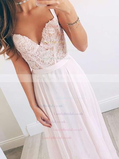 A-line V-neck Chiffon Floor-length Beading Prom Dresses #LDB020103496