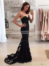 Trumpet/Mermaid Sweetheart Lace Sweep Train Appliques Lace Prom Dresses #LDB020103497