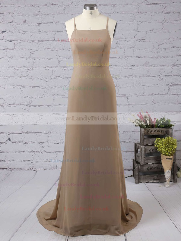 Sheath/Column Square Neckline Chiffon Floor-length Prom Dresses #LDB020103498