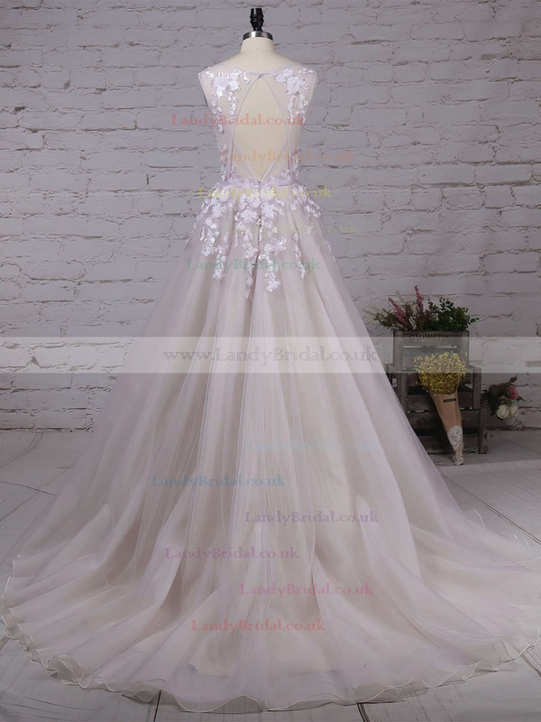 Princess V-neck Tulle Court Train Appliques Lace Prom Dresses #LDB020103499