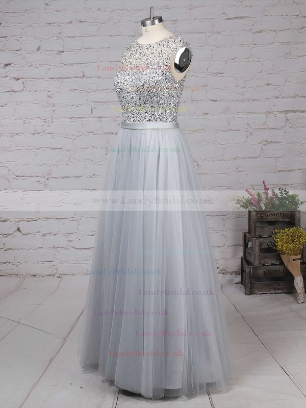 A-line Scoop Neck Tulle Floor-length Beading Prom Dresses #LDB020103502