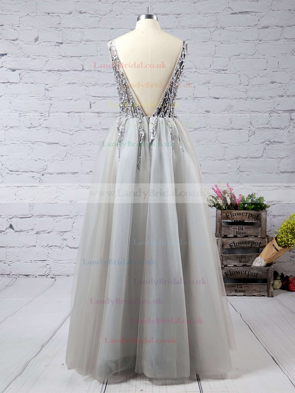 Princess V-neck Tulle Floor-length Beading Prom Dresses #LDB020103505