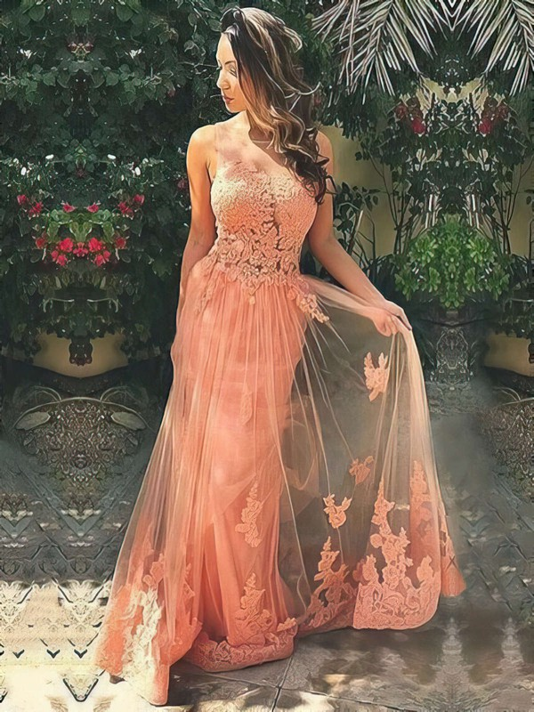 A-line Scoop Neck Tulle Sweep Train Appliques Lace Prom Dresses #LDB020103510