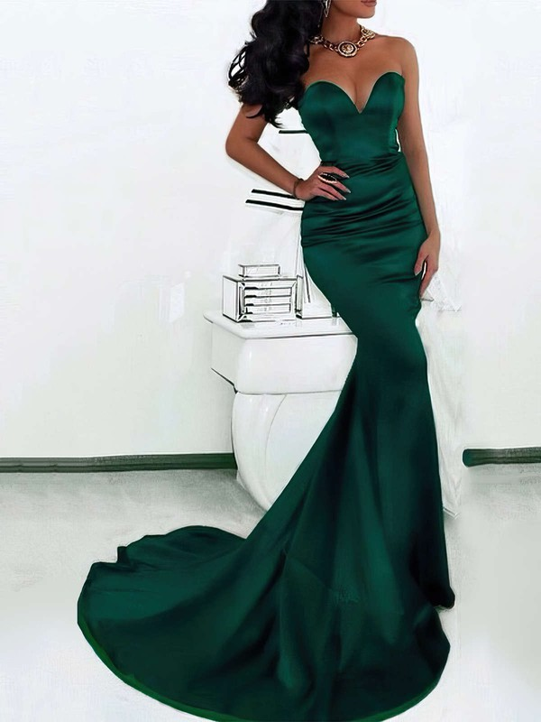 Trumpet/Mermaid Sweetheart Satin Sweep Train Prom Dresses #LDB020103517
