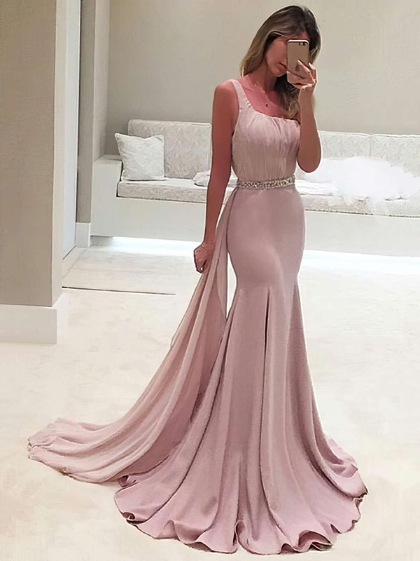 Trumpet/Mermaid One Shoulder Chiffon Sweep Train Beading Prom Dresses #LDB020103518