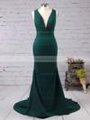 Trumpet/Mermaid V-neck Silk-like Satin Sweep Train Prom Dresses #LDB020103526