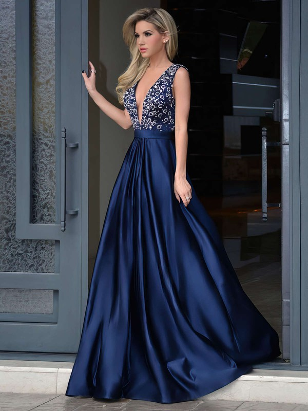 A-line V-neck Satin Sweep Train Beading Prom Dresses #LDB020103534
