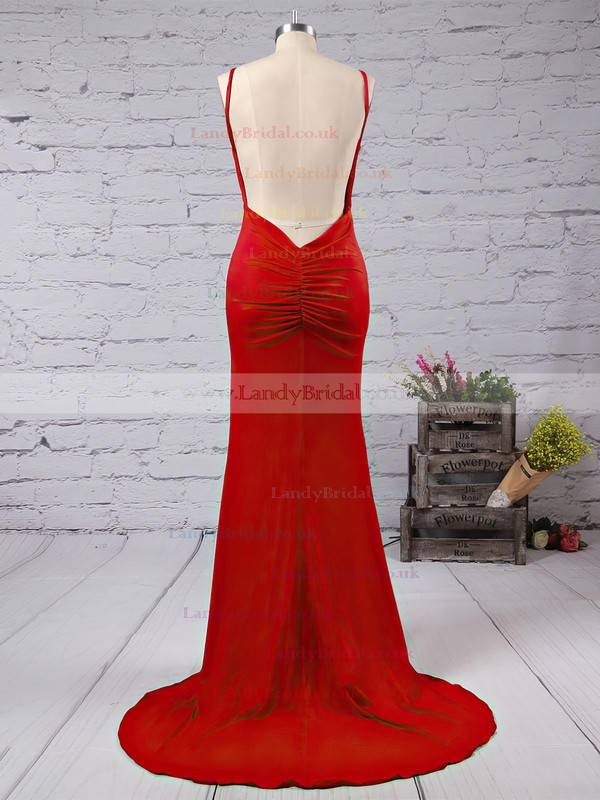 Trumpet/Mermaid V-neck Jersey Sweep Train Prom Dresses #LDB020103537