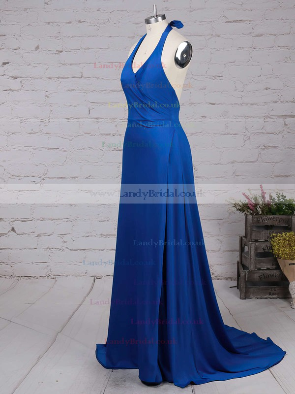 Sheath/Column V-neck Jersey Sweep Train Split Front Prom Dresses #LDB020103559