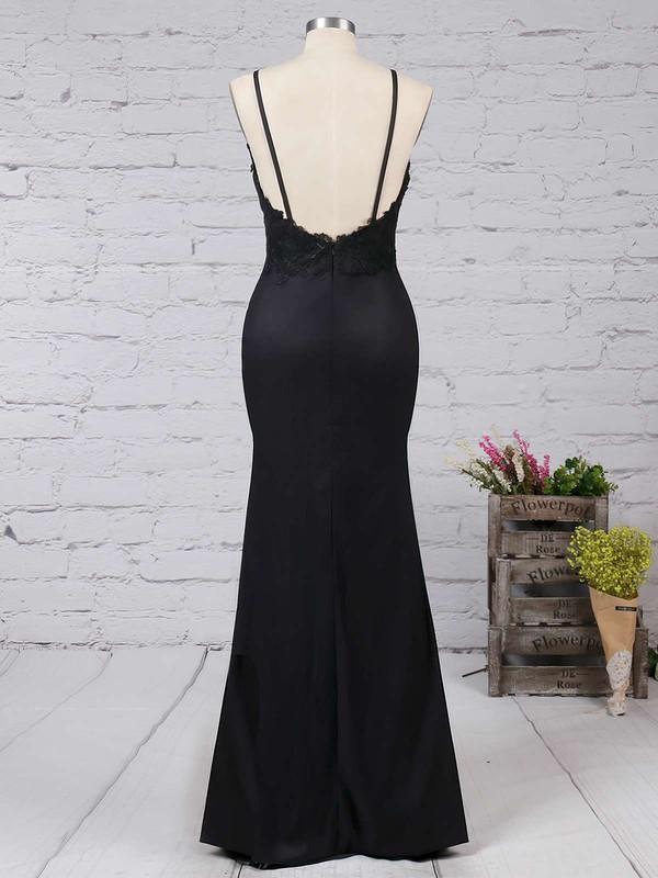 Sheath/Column V-neck Silk-like Satin Floor-length Appliques Lace Prom Dresses #LDB020103574