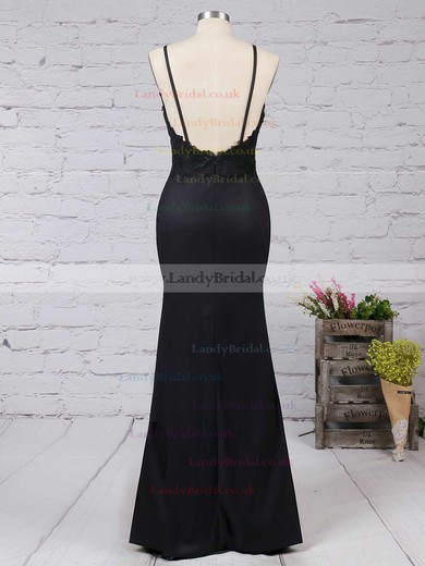 Sheath/Column V-neck Silk-like Satin Floor-length Appliques Lace Prom Dresses #LDB020103574