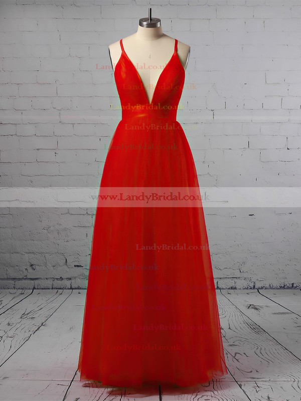 A-line V-neck Tulle Floor-length Split Front Prom Dresses #LDB020103576