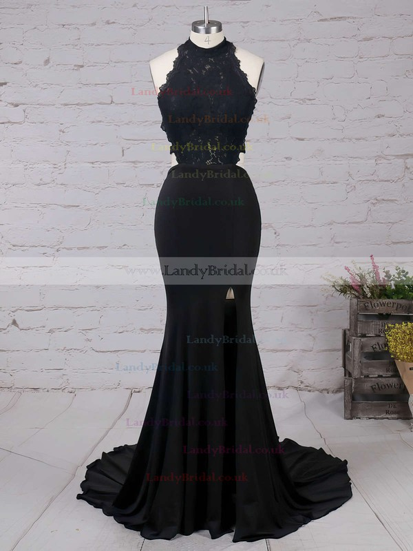 Sheath/Column High Neck Jersey Sweep Train Appliques Lace Prom Dresses #LDB020103577