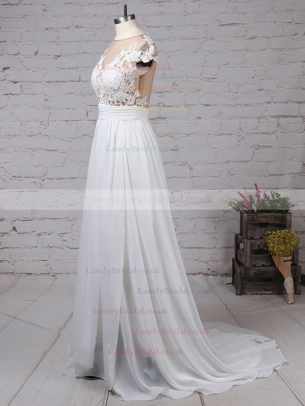 A-line Scoop Neck Chiffon Sweep Train Appliques Lace Prom Dresses #LDB020103578