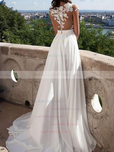 A-line Scoop Neck Chiffon Sweep Train Appliques Lace Prom Dresses #LDB020103578