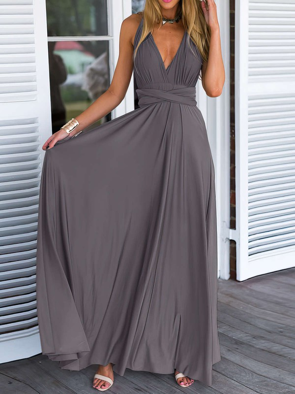 A-line V-neck Chiffon Floor-length Prom Dresses #LDB020103579