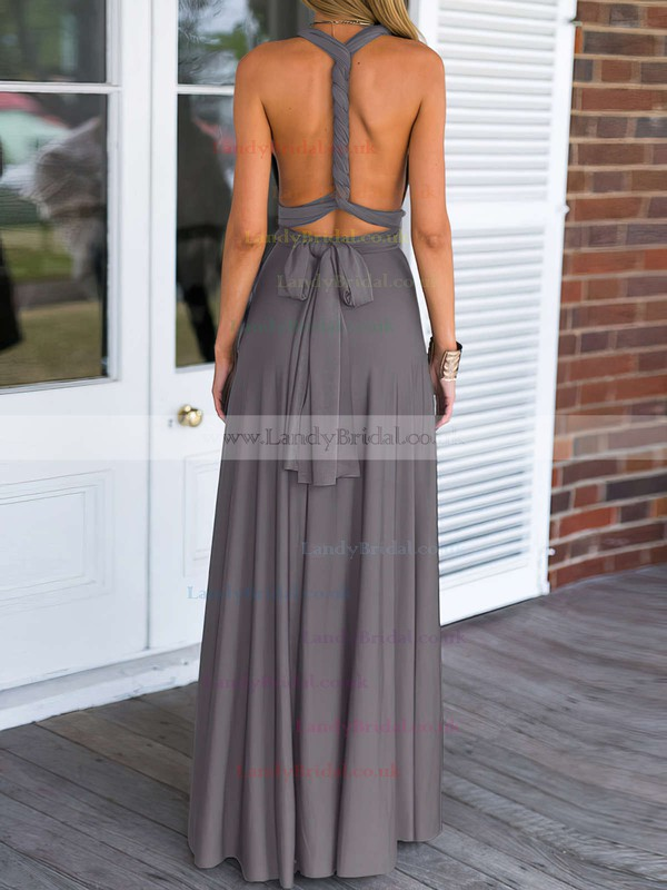 A-line V-neck Chiffon Floor-length Prom Dresses #LDB020103579